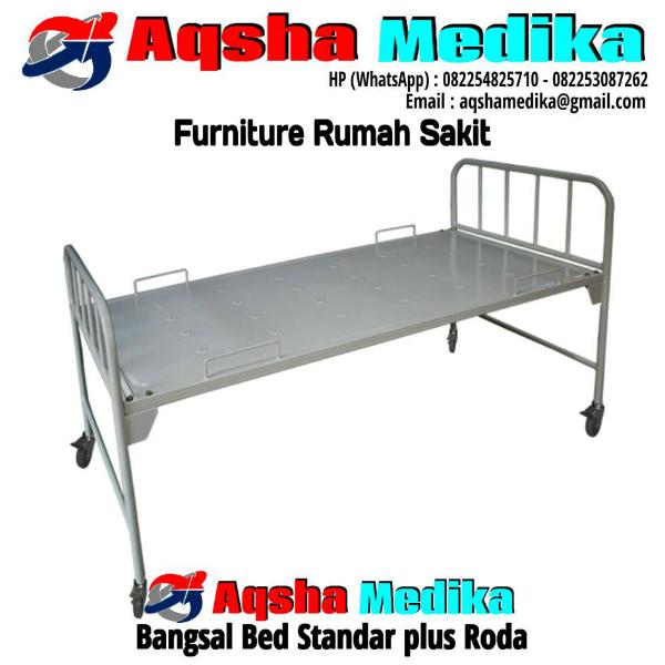 Ranjang Pasien Bangsal Standar plus Roda - Aqsha Medika