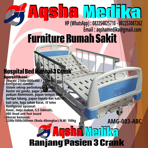 Bed Hospital 3 Crank Manual - AMG-003-ABC