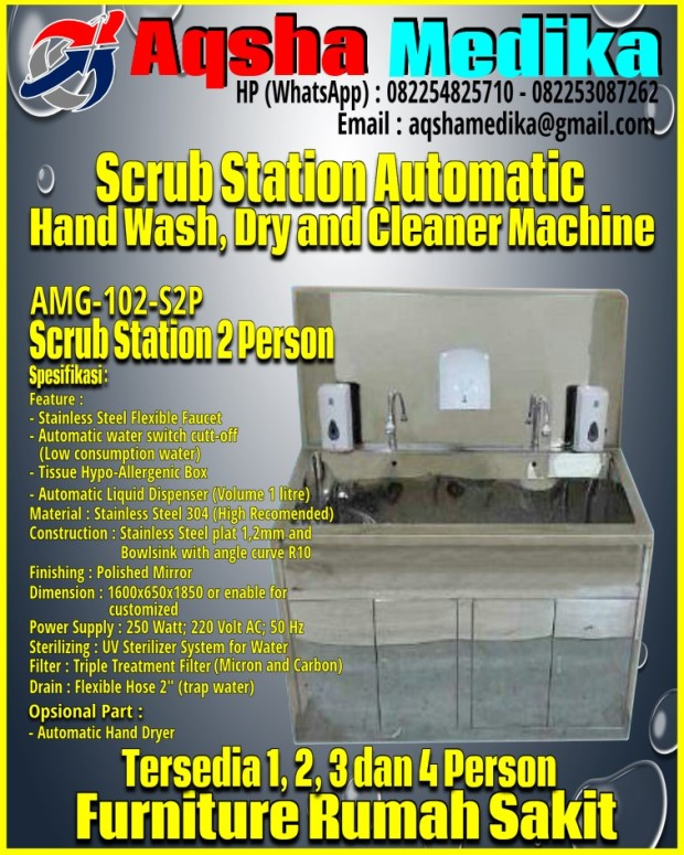 Scrub Station 2 Person AMG-102-S2P Aqsha Medika 2017